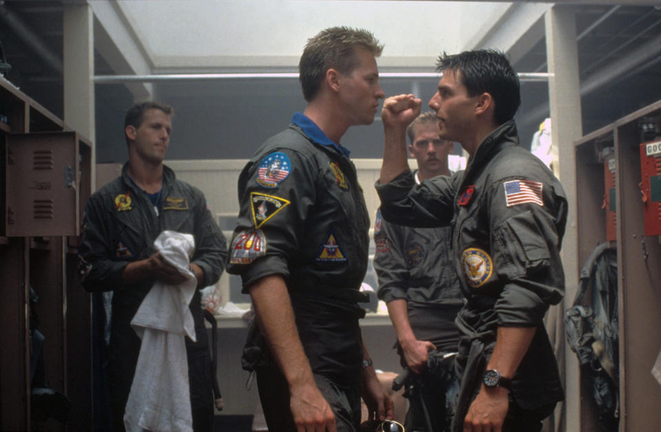 American actors Val Kilmer and Tom Cruise on the set of Top Gun, directed by Tony Scott. (Photo by Paramount Pictures/Sunset Boulevard/Corbis via Getty Images)