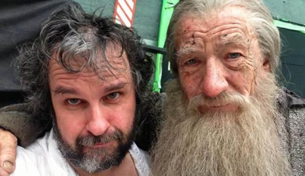 Peter Jackson's photo of himself and Sir Ian McKellen on 'The Hobbit' set -- Peter Jackson/Facebook