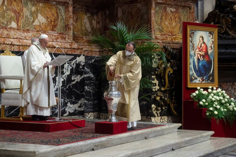 Pope Francis holds Chrism Mass on Holy Thursday at the Vatican