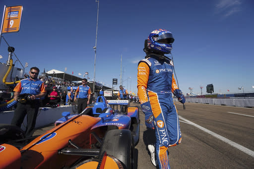 Scott Dixon steps away from his car during practice for the IndyCar Grand Prix of St. Petersburg auto race, Friday, March 9, 2018, in St. Petersburg, Fla. (Luis Santana/The Tampa Bay Times via AP)