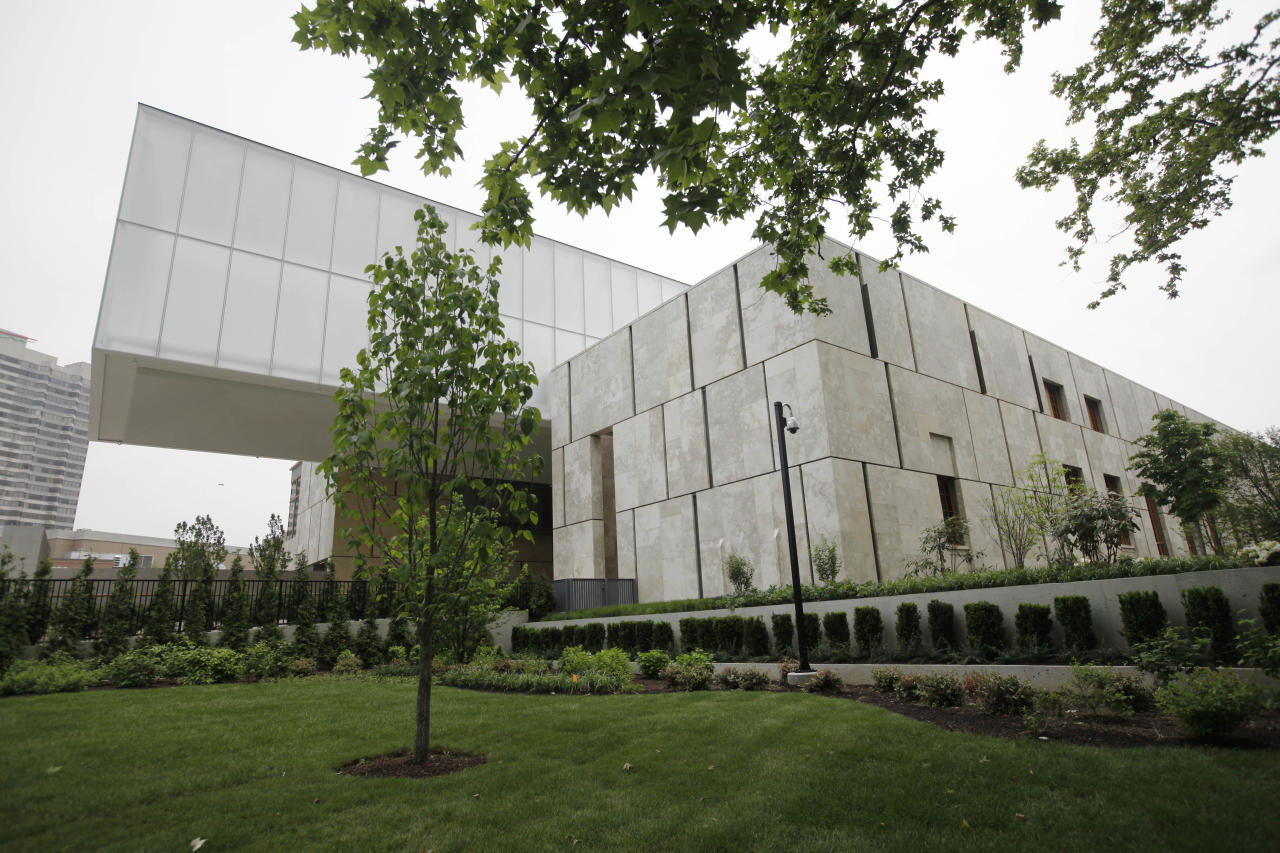"""An exterior view of The Barnes Foundation on Wednesday, May 16, 2012, in Philadelphia. After years of bitter court fights, the Barnes Foundation is scheduled to open its doors to the public on May 19 at its new location on Philadelphia's """"museum mile."""" (AP Photo/Matt Rourke)"""