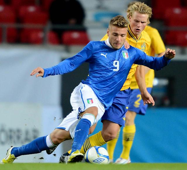 Italy's Ciro Immobile (L) and Sweden's Oscar Hiljemark fight for the ball during the UEFA European Under-21 Championship qualification match between Sweden and Italy at the Guldfageln arena in Kalmar, on October 16, 2012. AFP PHOTO/SCANPIX/ Patric SoderstromPatric Soderstrom/AFP/Getty Images