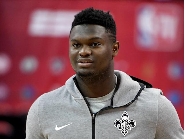 Zion Williamson gave Saints fans a moment to dream of what-if while playing catch with Drew Brees. (Getty)