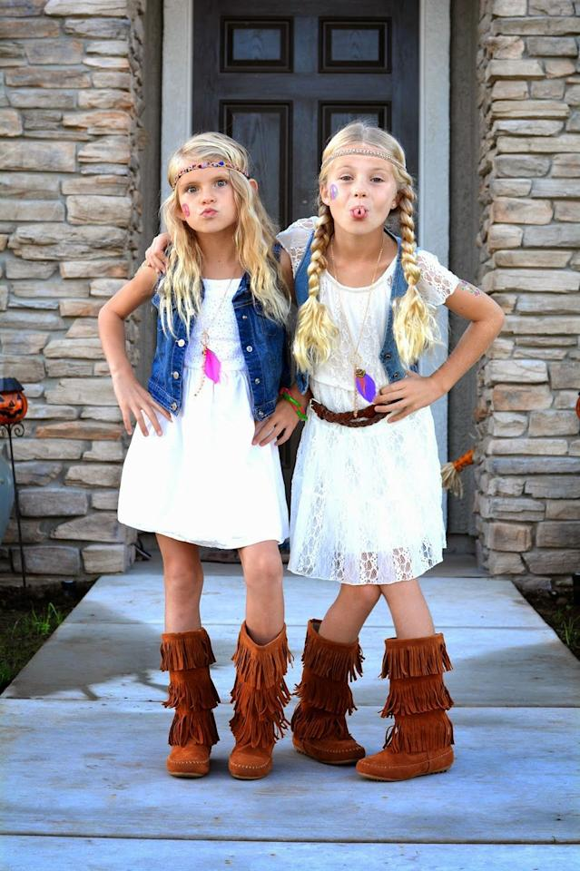 "<p>This DIY will work for kids and adults alike! If you have a boho-style white dress and a denim vest, you're pretty much halfway there. Just add some fringe boots and layer on some necklaces and a headband and you're ready for <a href=""https://www.countryliving.com/life/kids-pets/a23932768/what-time-does-trick-or-treating-start/"">trick-or-treating</a>.</p><p><strong>Get the tutorial at <a href=""http://minifashionaddicts.blogspot.com/2014/10/hippie-day.html"" target=""_blank"">Mini Fashion Addicts</a>. </strong></p><p><a class=""body-btn-link"" href=""https://www.amazon.com/Milumia-Womens-Bohemian-Drawstring-Splicing/dp/B01GCE2FGE/ref=sr_1_4?tag=syn-yahoo-20&ascsubtag=%5Bartid%7C10050.g.28305469%5Bsrc%7Cyahoo-us"" target=""_blank"">SHOP WHITE DRESSES</a><br></p>"