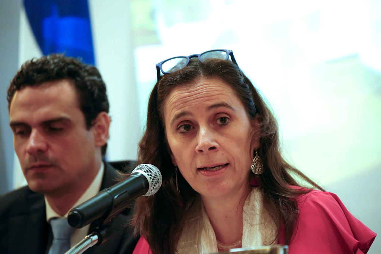 Commissioner Antonia Urrejola, Rapporteur for Nicaragua of the Inter-American Commission on Human Rights (IACHR), speaks during a press conference in Managua, Nicaragua May 21, 2018. REUTERS/Oswaldo Rivas