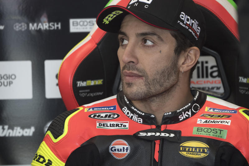 PHILLIP ISLAND, AUSTRALIA - OCTOBER 26: Andrea Iannone of Italy and Aprilia Racing Team Gresini looks on in box during the MotoGP of Australia - Qualifying for the 2019 MotoGP of Australia at Phillip Island Grand Prix Circuit on October 26, 2019 in Phillip Island, Australia. (Photo by Mirco Lazzari gp/Getty Images)