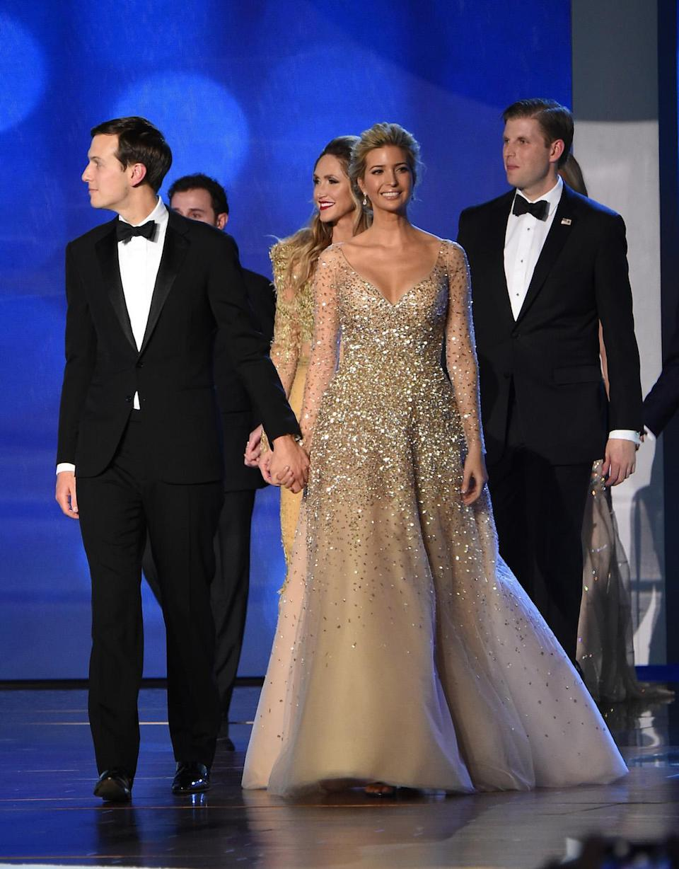 <p>Ivanka wore a champagne Carolina Herrera ball gown to the Freedom Ball in Washington, on Friday, Jan. 20, 2017, at the Washington Convention Center. (Photo: Getty Images) </p>