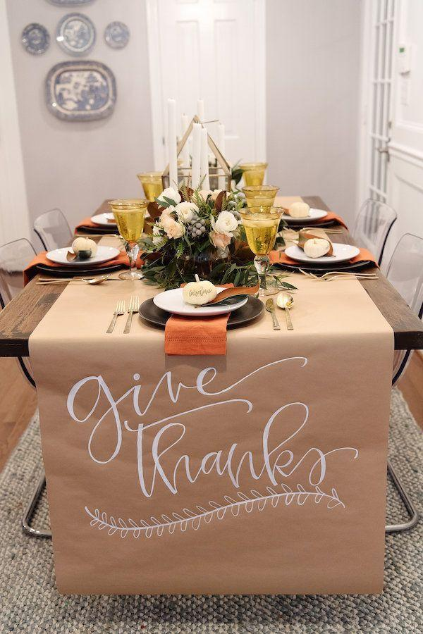 "<p>How gorgeous is this table runner? Beautiful and organic-looking, kraft paper also doubles as the perfect kids' table topper. Hand out a few crayons, and let them color to their hearts' content.</p><p><strong>Get the tutorial at <a href=""https://www.houseofharper.com/interiors/thanksgiving-table-setting/"" rel=""nofollow noopener"" target=""_blank"" data-ylk=""slk:House of Harper"" class=""link rapid-noclick-resp"">House of Harper</a>. </strong></p><p><strong><a class=""link rapid-noclick-resp"" href=""https://www.amazon.com/Paper-Wrapping-Shipping-Covering-Recycled/dp/B0788YRV9V?tag=syn-yahoo-20&ascsubtag=%5Bartid%7C10050.g.2063%5Bsrc%7Cyahoo-us"" rel=""nofollow noopener"" target=""_blank"" data-ylk=""slk:SHOP KRAFT PAPER"">SHOP KRAFT PAPER</a></strong></p>"