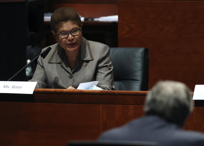 Rep. Karen Bass questions Attorney General William Barr during a House Judiciary Committee hearing. (Chip Somodevilla/Pool via AP)