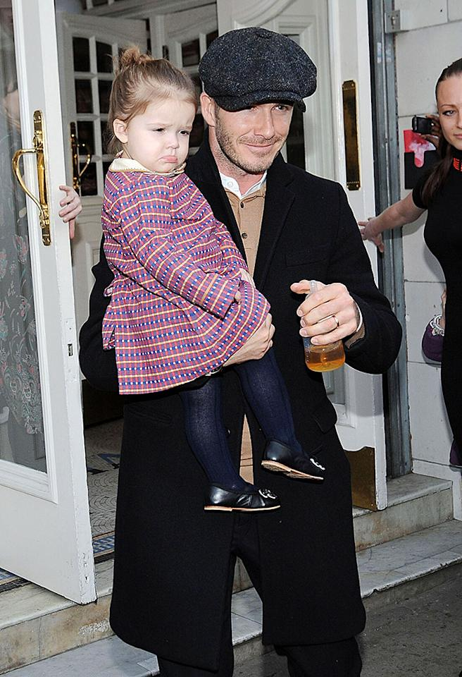 51017167 The Beckham family leaves The Electric Cinema in Notting Hill where they celebrated Cruz's birthday on February 18, 2013 in London, England. Afterward the family headed to the Eurostar station to catch a train to Paris. FameFlynet, Inc - Beverly Hills, CA, USA -  1 (818) 307-4813 RESTRICTIONS APPLY: USA ONLY