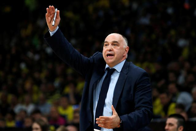 Basketball - EuroLeague Final Four Semi Final A - CSKA Moscow vs Real Madrid - ?Stark Arena?, Belgrade, Serbia - May 18, 2018 Real Madrid coach Pablo Laso reacts REUTERS/Alkis Konstantinidis