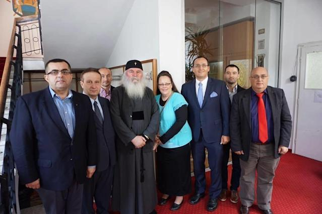 Kim Davis (center) is in the midst of a nine-day trip to Romania in hopes of encouraging lawmakers to oppose same-sex marriage.