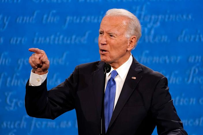 Former Vice President Joe Biden points at President Donald Trump while making a point during Thursday's debate.