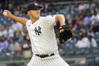 New York Yankees pitcher Jameson Taillon delivers against Baltimore Orioles in the first inning of their baseball game, Wednesday, Aug. 4, 2021, in New York. (AP Photo/Mary Altaffer)