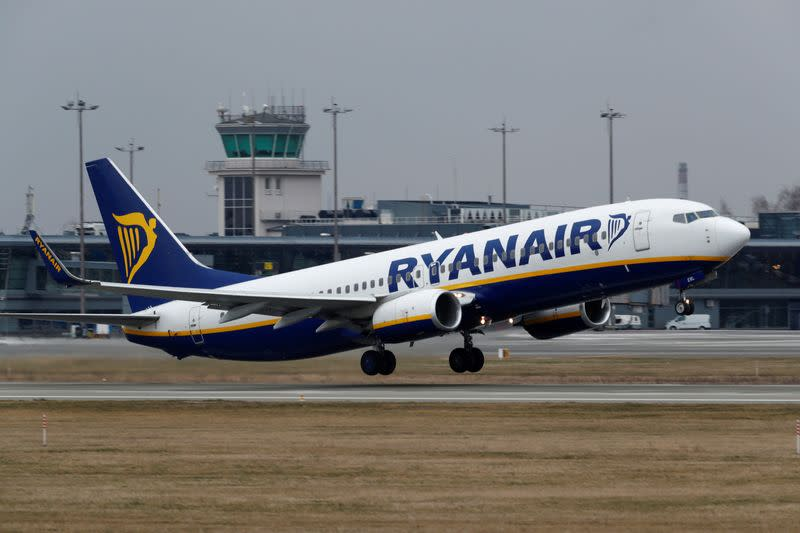 FILE PHOTO: Ryanair Boeing 737-8AS plane takes off before all international flights will be cancelled on Monday midnight, March 16, Riga