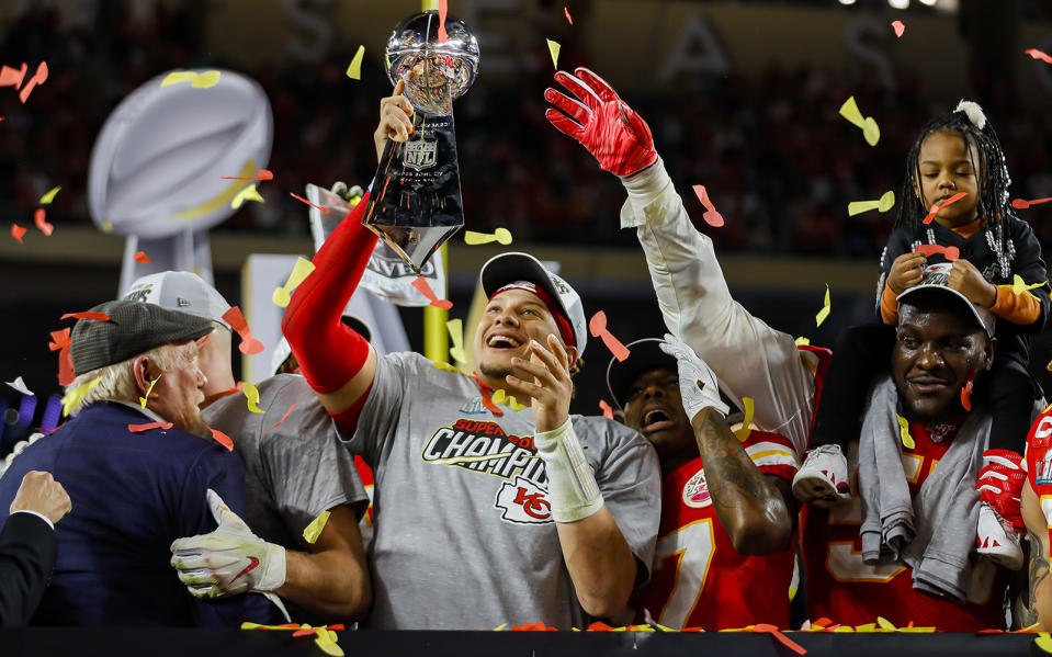Kansas City Chiefs quarterback Patrick Mahomes holds the Vince Lombardi Trophy after winning Super Bowl LIV against the San Francisco 49ers, 31-20, at Hard Rock Stadium in Miami Gardens, Fla., on Sunday, Feb. 2, 2020. The Chiefs won, 31-20. (Charles Trainor Jr./Miami Herald/Tribune News Service via Getty Images)