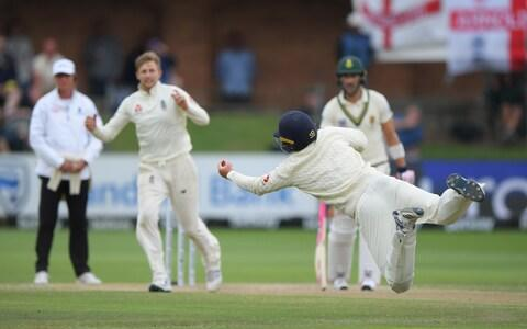 Ollie Pope catches Rassie van der Dussen of the bowling of Joe Root - Credit: Getty Images
