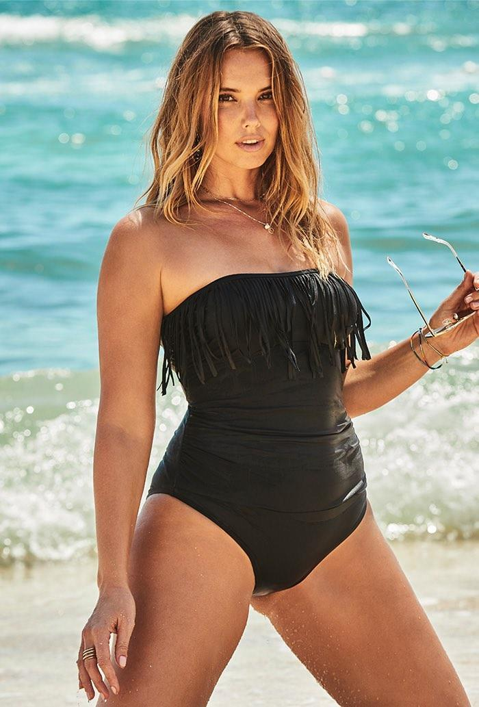 Black Fringe Bandeau One Piece Swimsuit. Image via Swimsuits For All.