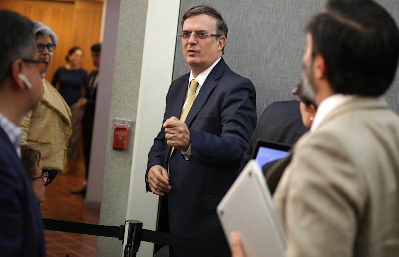 Mexican Foreign Affairs Secretary Marcelo Ebrard talks to reporters at the conclusion of a news conference at the Mexican Embassy following talks with U.S. Vice President Mike Pence and Secretary of State Mike Pompeo June 05, 2019 in Washington, DC. Leaders from Mexico and the United States are holding emergency meetings following President Donald Trump's threat to impose a 5-percent tariff on all imports to the United States if Mexico does not do more to restrict migrants from Central America from coming to the U.S.