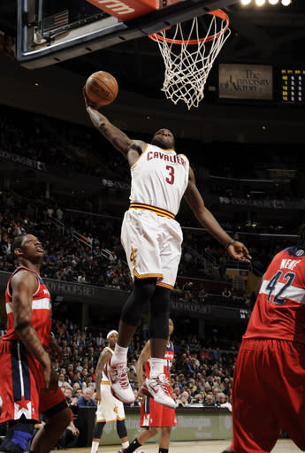 CLEVELAND, OH - MARCH 12: Dion Waiters #3 of the Cleveland Cavaliers dunks against the Washington Wizards at The Quicken Loans Arena on March 12, 2013 in Cleveland, Ohio. (Photo by David Liam Kyle/NBAE via Getty Images)