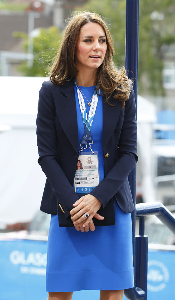 Kate wears the Smythe blazer at Hampden Park during the 20th Commonwealth Games in Glasgow, Scotland, in 2014.