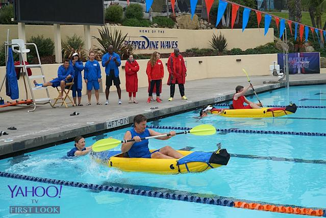 <p>Evigan (<em>My Two Dads</em>) begins his leg of the kayak relay for Team TV Moms & Dads against Team TV Kids.<br><br>(Photo Credit: Byron Cohen/ABC) </p>