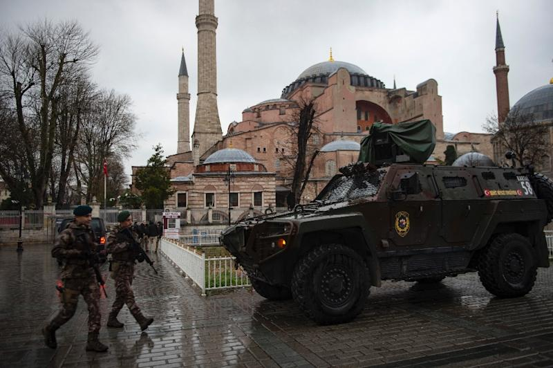 Security measures were tightened around the Hagia Sophia museum for last month's visit by Greek Prime Minister Alexis Tsipras (AFP Photo/Yasin AKGUL)