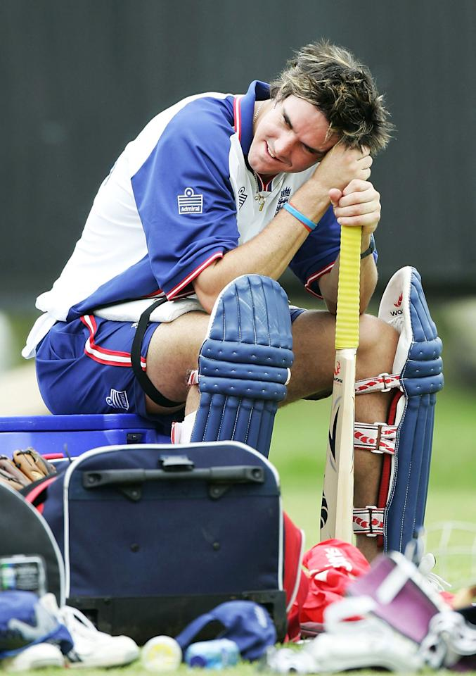 Kevin Pietersen of England waits to bat during a practice session at the Wanderers Cricket Ground on January 29, 2005 in Johannesburg, South Africa. (Photo by Clive Mason/Getty Images) *** Local Caption *** Kevin Pietersen