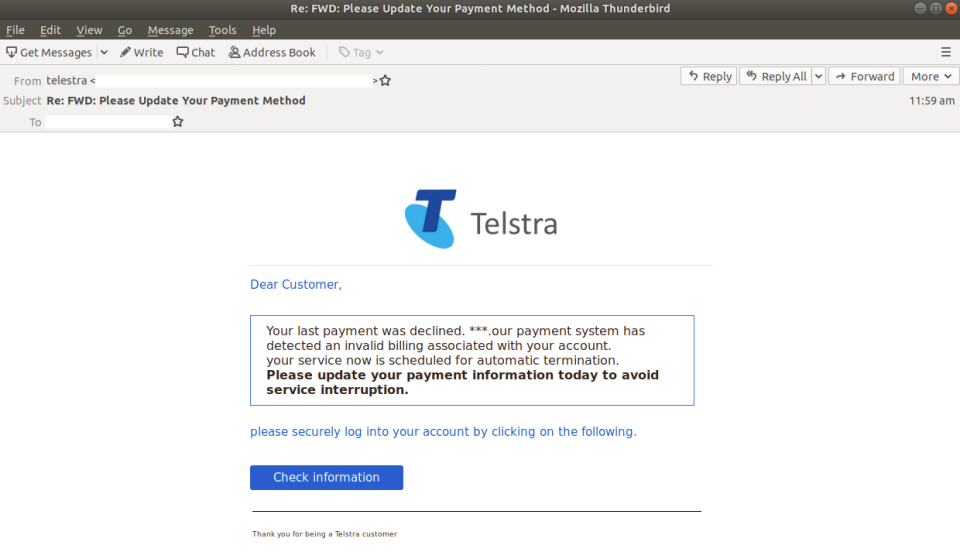 Here's what the latest email scam spoofing Telstra looks like. (Source: MailGuard)