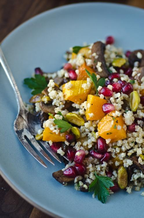 "Photo: Scaling Back<br> Millet Pilaf with Butternut Squash, Mushrooms, and Pomegranate<br><br> Scaling Back (tagline: ""Getting Small in a Super-Sized World"") brings us welcome relief from sugar overload with this vibrant, jewel-tone salad.<br><br> <b>Recipe: <a href=""http://www.scalingbackblog.com/savory-bites/millet-pilaf-with-butternut-squash-mushrooms-and-pomegranate/"" rel=""nofollow noopener"" target=""_blank"" data-ylk=""slk:Millet Pilaf with Butternut Squash, Mushrooms, and Pomegranate"" class=""link rapid-noclick-resp"">Millet Pilaf with Butternut Squash, Mushrooms, and Pomegranate</a></b>"