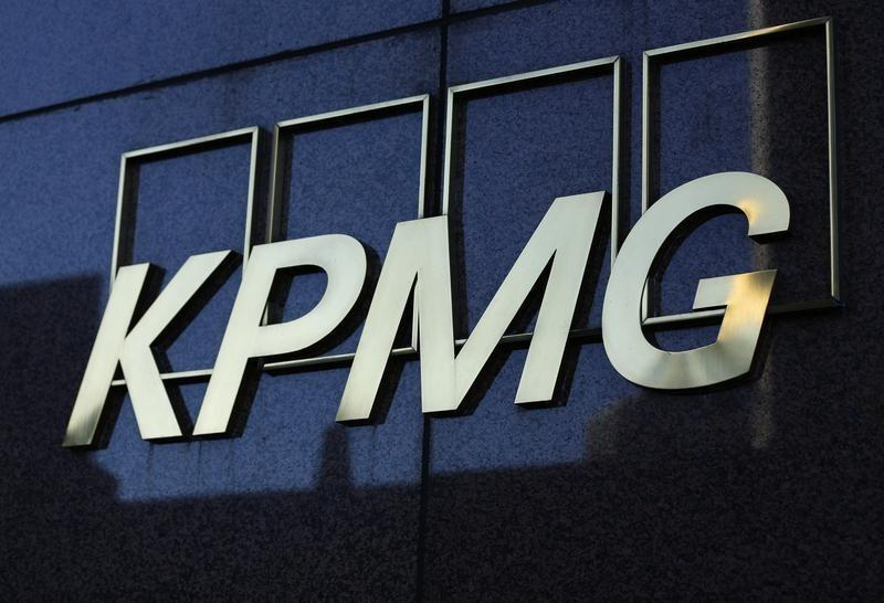 A KPMG logo is seen on their down town office tower in Los Angeles, California