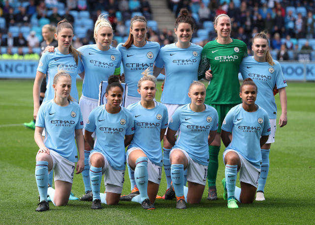 Soccer Football - Women's Champions League Semi-Final First Leg - Manchester City v Olympique Lyonnais - Academy Stadium, Manchester, Britain - April 22, 2018 Manchester City players pose for a team group photo before the match Action Images via Reuters/John Clifton