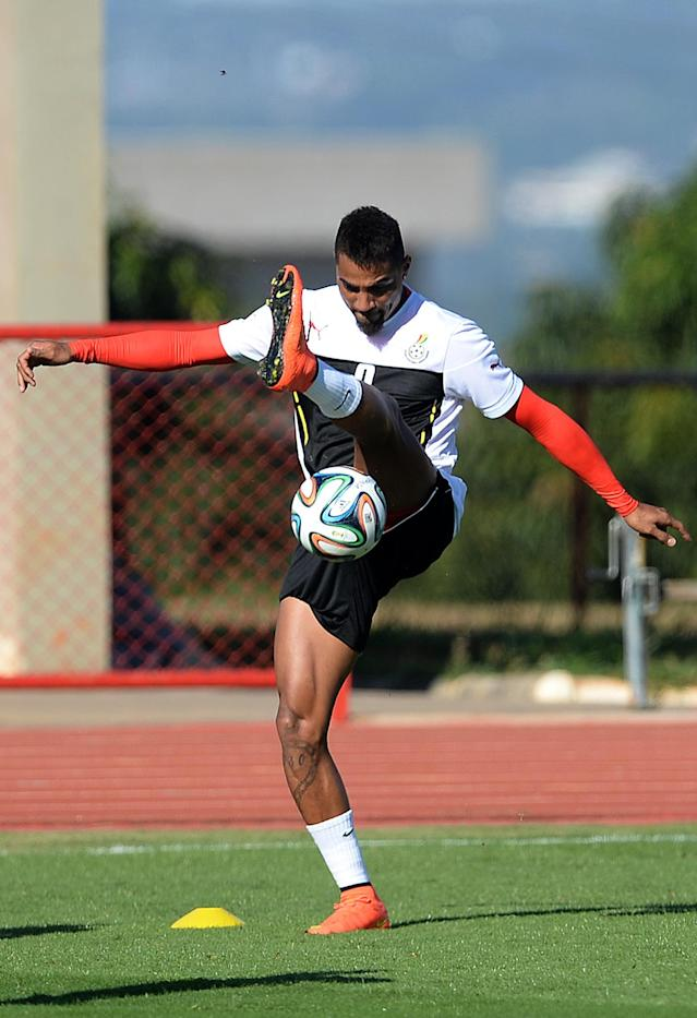 Ghana's Kevin Prince Boateng controls the ball, during a training session in Brasilia, Brazil, Wednesday, June 25, 2014. Ghana will play Portugal in group G of the 2014 soccer World Cup on June 26. (AP Photo/Paulo Duarte)
