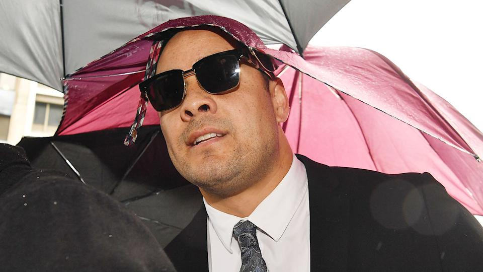Pictured here, Jarryd Hayne outside court for his sentencing hearing for rape.
