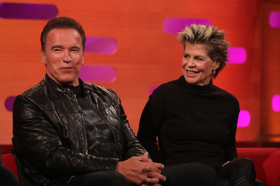 Arnold Schwarzenegger and Linda Hamilton during the filming for the Graham Norton Show at BBC Studioworks 6 Television Centre, Wood Lane, London, to be aired on BBC One on Friday evening. (Photo by Isabel Infantes/PA Images via Getty Images)