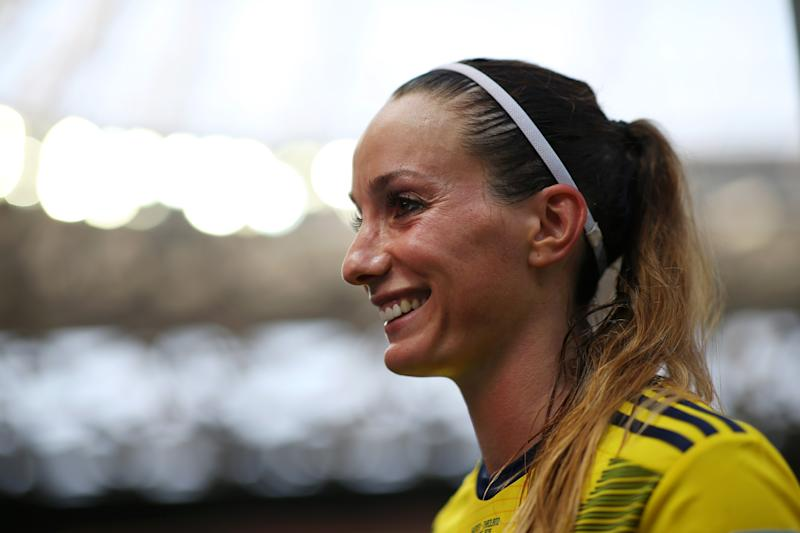 NICE, FRANCE - JUNE 16: Kosovare Asllani of Sweden is interviewed by media following her team's victory in the 2019 FIFA Women's World Cup France group F match between Sweden and Thailand at Stade de Nice on June 16, 2019 in Nice, France. (Photo by Joosep Martinson - FIFA/FIFA via Getty Images)