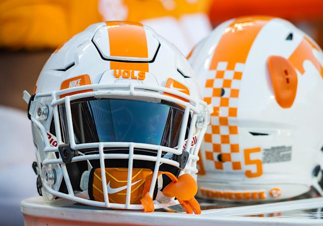 "KNOXVILLE, TN – NOVEMBER 25: <a class=""link rapid-noclick-resp"" href=""/ncaaf/teams/ttd"" data-ylk=""slk:Tennessee Volunteers"">Tennessee Volunteers</a> helmets on the sidelines during a game between the <a class=""link rapid-noclick-resp"" href=""/ncaaf/teams/vva"" data-ylk=""slk:Vanderbilt Commodores"">Vanderbilt Commodores</a> and Tennessee Volunteers on November 25, 2017, at Neyland Stadium in Knoxville, TN. (Photo by Bryan Lynn/Icon Sportswire)"