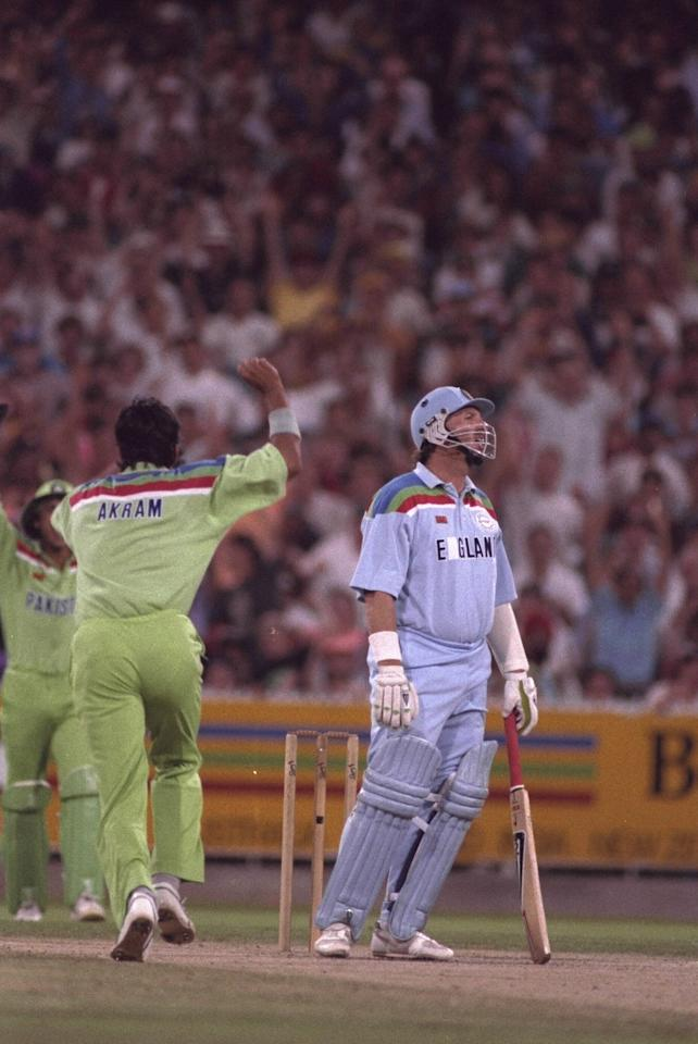 Mar 1992:  Ian Botham of England is caught at the wicket by Moin Khan off Wasim Akram during the Cricket World Cup final against Pakistan played at the MCG in Melbourne.  Pakistan won the match.