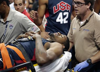 Paul George will likely miss all of next season after fracturing his leg in a Team USA scrimmage. (AP)