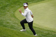 Megan Khang runs off the 18th green after finishing the second round of the U.S. Women's Open golf tournament at The Olympic Club, Friday, June 4, 2021, in San Francisco. (AP Photo/Jeff Chiu)