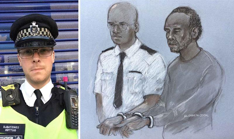PC Outten, left, and a court sketch of Rodwan, right. (PA Images)
