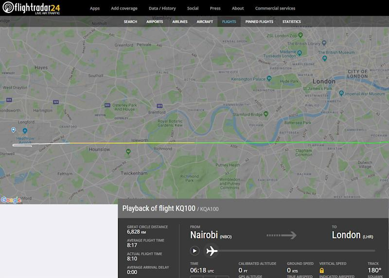 The FlightRadar website showing the flight path of the Kenya Airways plane believed to have been carrying a suspected stowaway (Picture: FlightRadar/PA)