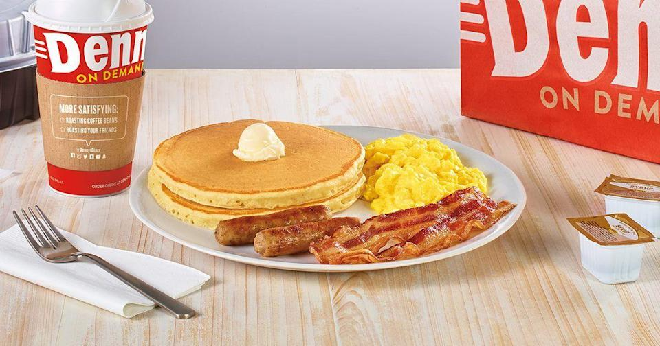 """<p>In 1977, America's diner <a href=""""https://www.delish.com/food-news/a48522/what-you-need-to-know-before-eating-at-dennys/"""" rel=""""nofollow noopener"""" target=""""_blank"""" data-ylk=""""slk:debuted the Grand Slam"""" class=""""link rapid-noclick-resp"""">debuted the Grand Slam</a> in its Atlanta locations as a tribute to Atlanta Brave Hank Aaron. More than four decades later, the Grand Slam is still Denny's signature dish, thanks to its perfect combination of all our favorite breakfast classics. It's no surprise that the most ordered item at this chain is the Build Your Own Grand Slam, AKA that combo of classics that you can actually customize just to your liking.</p>"""