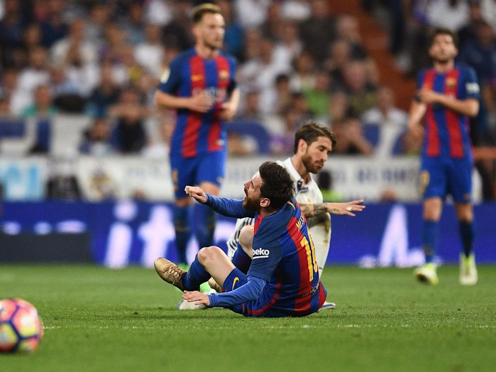 Sergio Ramos was sent-off for a shocking tackle on Messi (Getty)