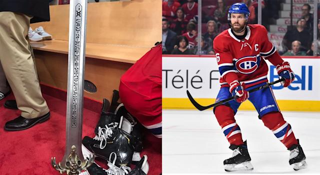 Shea Weber has introduced a new Game of Thrones-inspired post-win award for the Montreal Canadiens. (Getty Images) (Twitter // @JohnLuTSNMtl)