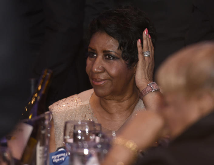<p>Aretha Franklin attends the annual White House Correspondents' Dinner, April 30.<i> (Photo: Susan Walsh/AP)</i></p>