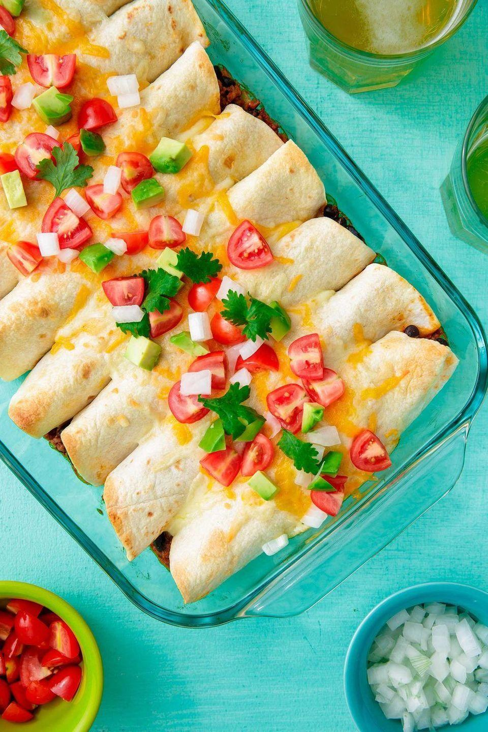 """<p>Like your enchiladas with a kick? Finely crush two jalapeños and sauté them with the onions for a little added heat.</p><p>Get the <a href=""""https://www.delish.com/uk/cooking/recipes/a31202002/beef-enchiladas-recipe/"""" rel=""""nofollow noopener"""" target=""""_blank"""" data-ylk=""""slk:Beef Enchiladas"""" class=""""link rapid-noclick-resp"""">Beef Enchiladas</a> recipe.</p>"""