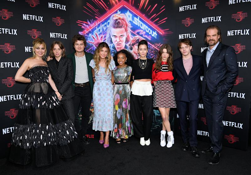 "NEW YORK, NEW YORK - NOVEMBER 11: (L-R) Cara Buono, Maya Hawke, Joe Keery, Millie Bobbie Brown, Priah Ferguson, Carmen Cuba, Natalia Dyer, Charlie Heaton and David Harbour attend a ""Stranger Things"" Season 3 New York Screening at DGA Theater on November 11, 2019 in New York City. (Photo by Dia Dipasupil/Getty Images)"