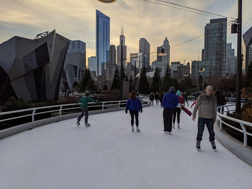 "<p><strong><a href=""https://www.yelp.com/biz/maggie-daley-park-skating-ribbon-chicago"" rel=""nofollow noopener"" target=""_blank"" data-ylk=""slk:Maggie Daley Park Skating Ribbon"" class=""link rapid-noclick-resp"">Maggie Daley Park Skating Ribbon</a> in Chicago</strong></p><p>""This is one of the coolest public skating rink I've ever been too! It's free to skate if you have your own.. otherwise theres rentals and lockers for a fee. (Changes when it's holidays vs normal days)."" - Yelp user <a href=""https://www.yelp.com/user_details?userid=8vNho_9a6crhyVvg4V7lDw"" rel=""nofollow noopener"" target=""_blank"" data-ylk=""slk:Krista S."" class=""link rapid-noclick-resp"">Krista S.</a></p><p>Photo: Yelp/<a href=""https://www.yelp.com/user_details?userid=Um_THfGSE0ND5LAQUyrobg"" rel=""nofollow noopener"" target=""_blank"" data-ylk=""slk:Ashley A."" class=""link rapid-noclick-resp"">Ashley A. </a></p>"