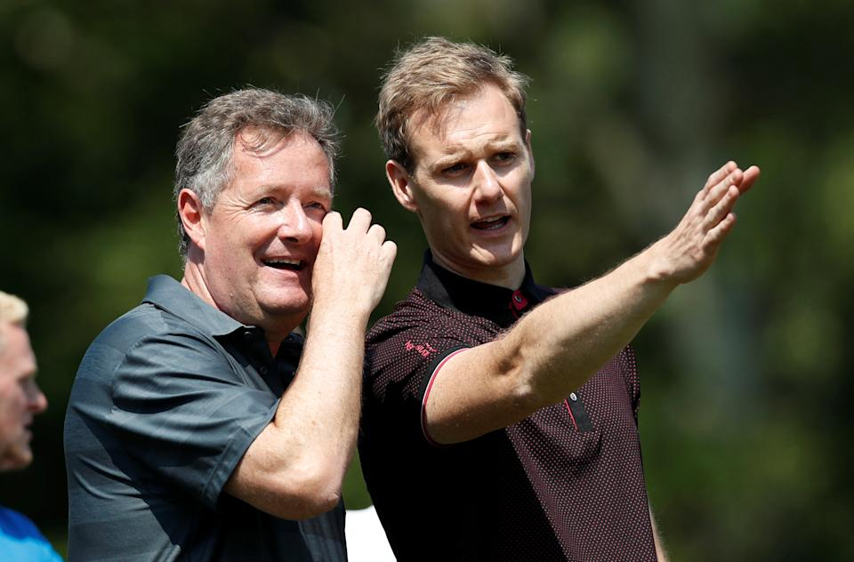 Golf - European Tour - BMW PGA Championship - Wentworth Club, Virginia Water, Britain - May 23, 2018   Presenter's Dan Walker and Piers Morgan during the pro-am   Action Images via Reuters/Paul Childs